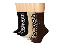 Steve Madden 6 Pack Stud Crew And Animal Print Chocolate Khaki Women's Crew Cut Socks Shoes Brown