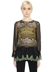 Alberta Ferretti Floral Printed Silk Chiffon And Lace Shirt