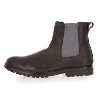 River Island Mens Black Leather Cleated Sole Chelsea Boots