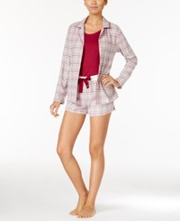 Nautica 3 Peice Button Front Shirt Tank Top And Shorts Pajama Set Grey Plaid Raspberry