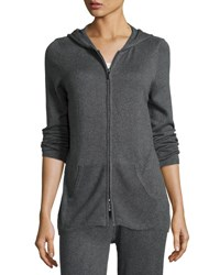 Neiman Marcus Thermal Zip Up Hoodie Dark Grey