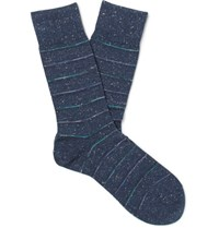 Falke Striped Cotton Blend Socks Blue