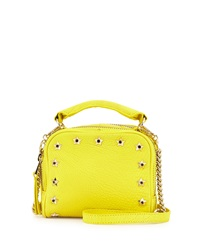 Ash Star Studded Frankie Leather Crossbody Bag Acid Yellow