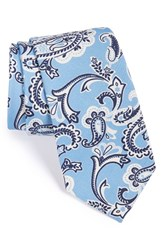 Men's Psycho Bunny Paisley Silk And Wool Tie Blue