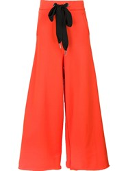Marques Almeida Marques'almeida Contrast Drawstring Palazzo Pants Yellow And Orange