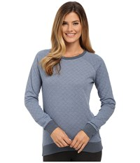 P.J. Salvage Gd Lounge Quilted Sweatshirt Denim Women's Long Sleeve Pullover Blue