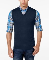 Club Room Men's Big And Tall V Neck Merino Wool Sweater Vest Only At Macy's Navy Blue