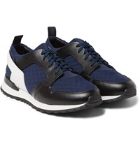 Oamc Leather And Neoprene Sneakers Navy