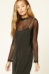 Forever 21 Contemporary Polka Dot Mesh Top