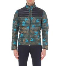 Etro Leaf Print Down Filled Shell Bomber Jacket Green
