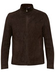 Ted Baker Gregg Suede Leather Jacket Chocolate