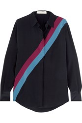 Stella Mccartney Striped Silk Crepe De Chine Shirt Midnight Blue