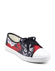 Anne Klein Zagger Cap Toe Lace Up Printed Sneakers Red