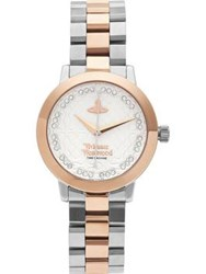 Vivienne Westwood Bloomsbury Two Tone Crystal Detail Dial Bracelet Watch Silver Rose Gold Silver Rose Gold