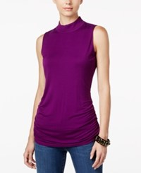 Inc International Concepts Ruched Mock Turtleneck Top Only At Macy's Purple Paradise