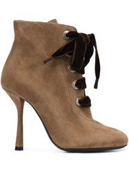 Lanvin Lace Up Ankle Boots Brown