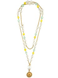 Chanel Vintage Double Pearl Beaded Necklace Metallic