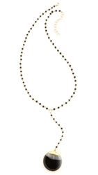 Heather Hawkins Y Necklace Black Spinel Agate