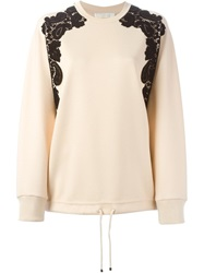 Chloe Chloe Lace Detail Sweatshirt Nude And Neutrals