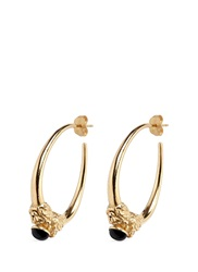 Ela Stone 'Arie' Lion Head Onyx Brass Hoop Earrings Metallic