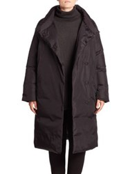 Eileen Fisher Double Breasted Down Coat Black