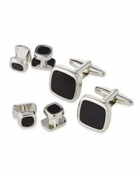 Ike Behar Square Cuff Links And Shirt Studs Set Silver Bla