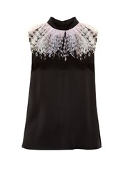 Christopher Kane Feather Embellished Sleeveless Satin Top Black