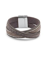 Saks Fifth Avenue Crystal Cuff Bracelet Gold Grey