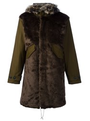 Paul Smith Ps By Faux Fur Panel Parka Green