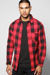 Boohoo Check Long Sleeve Shirt Red