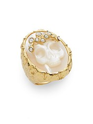 Alexis Bittar Elements Mother Of Pearl And Swarovski Crystal Skull Cameo Ring Goldtone