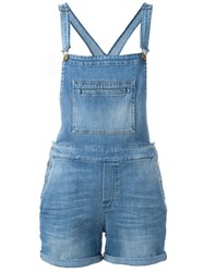7 For All Mankind Denim Short Overalls Blue