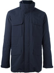 Z Zegna Pocketed Military Jacket Blue