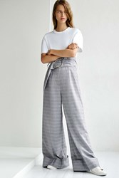 Topshop Tailored Wide Leg Trouser By Boutique Grey