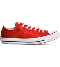 Converse All Star Low Top Canvas Trainers Casino Red Sheenwash