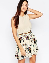 Mela Loves London Skater Dress With Contrast Bird Print Skirt White