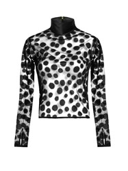 House Of Holland Flocked Polka Dot Semi Sheer Top Black