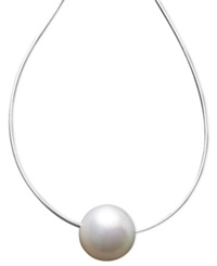 Macy's Pearl Necklace 14K White Gold Cultured South Sea Pearl Pendant 13Mm Black