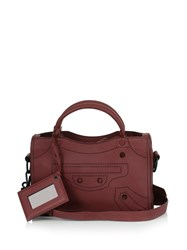 Balenciaga Blackout City Mini Leather Cross Body Bag Burgundy
