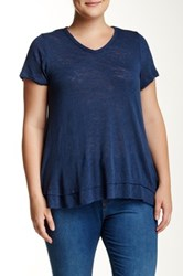 Bobeau V Neck Tiered Hem Tee Plus Size Blue