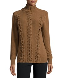 Lafayette 148 New York Long Sleeve Cable Knit Cashmere Sweater Coconut Melange