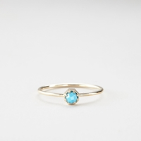 Grace Lee Petite Turquoise Crown Bezel Ring Yellow Gold