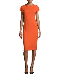 Narciso Rodriguez Cap Sleeve Round Neck Crepe Dress Fire Orange Women's