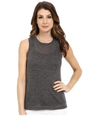 Blank Nyc Muscle Tee With Overlapping Racerback Detail Charcoal Grey Women's Sleeveless Gray