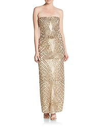 Laundry By Shelli Segal Platinum Strapless Sequined Gown Gold