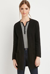 Forever 21 Fuzzy Open Front Cardigan Black