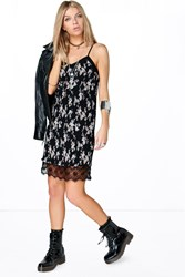 Boohoo Floral Lace Hem Slip Dress Black