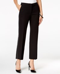 Alfani Petite Faux Leather Trim Cropped Pants Only At Macy's Deep Black