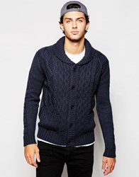 French Connection Button Through Cable Chunky Cardigan Navy