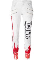 Faith Connexion 'Flame' Print Skinny Jeans White